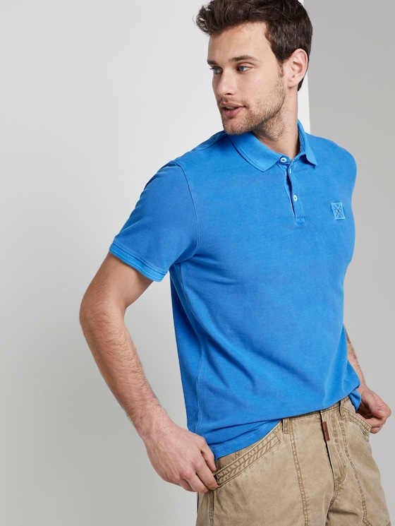 Poloshirt mit Logo-Patch - Männer - Electric Teal Blue - 5 - TOM TAILOR