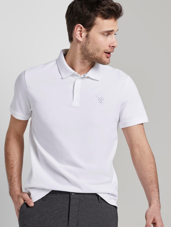 Poloshirt mit Logo-Patch - Männer - White - 5 - TOM TAILOR