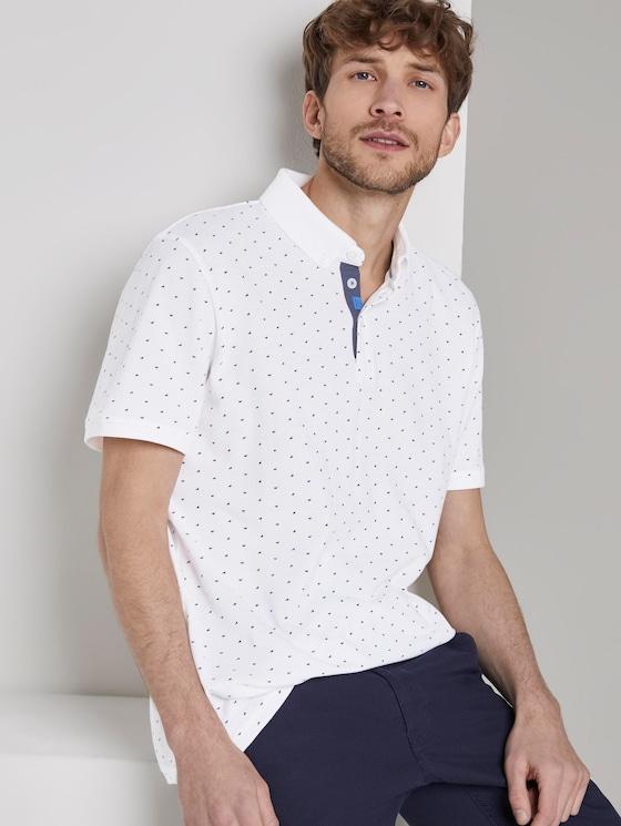 Poloshirt mit Allover-Print - Männer - White - 5 - TOM TAILOR