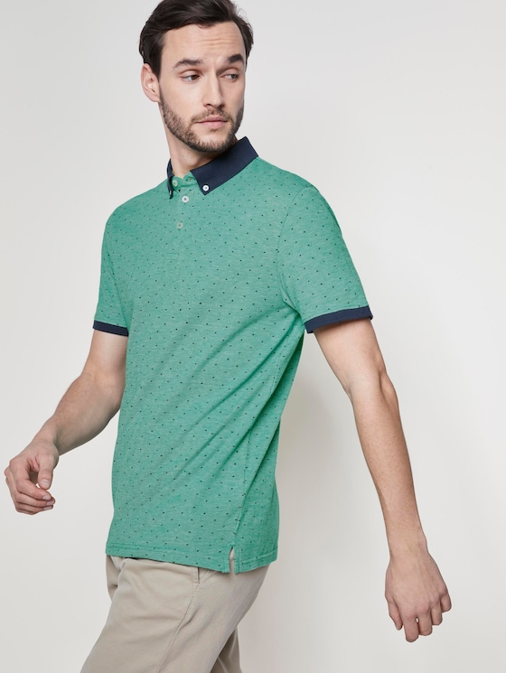 Poloshirt mit Allover-Print - Männer - green triangle design - 5 - TOM TAILOR