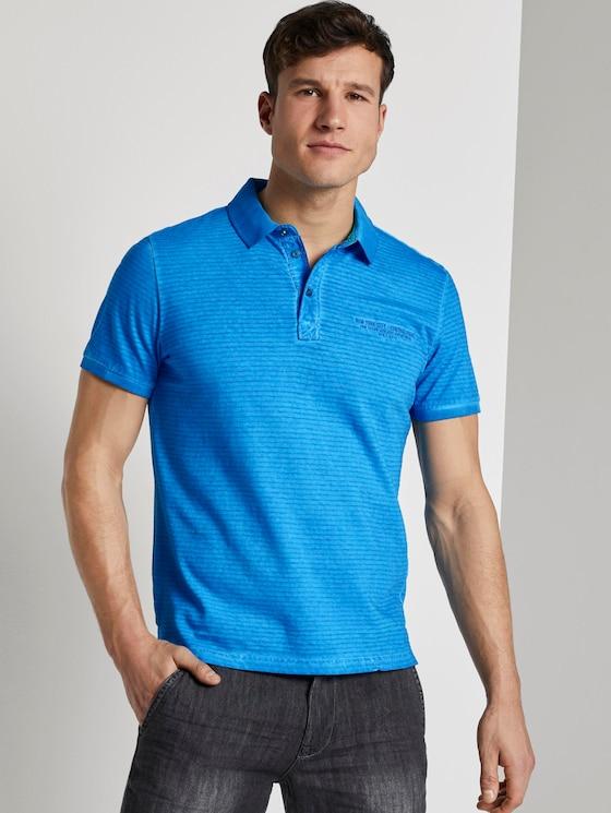 Gestreiftes Poloshirt mit kleiner Stickerei - Männer - Electric Teal Blue - 5 - TOM TAILOR