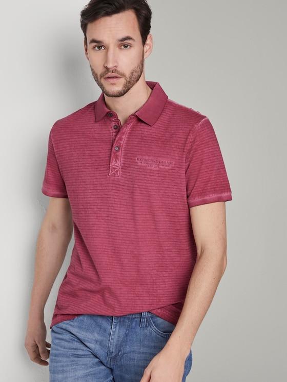 Gestreiftes Poloshirt mit kleiner Stickerei - Männer - wine rose pink - 5 - TOM TAILOR