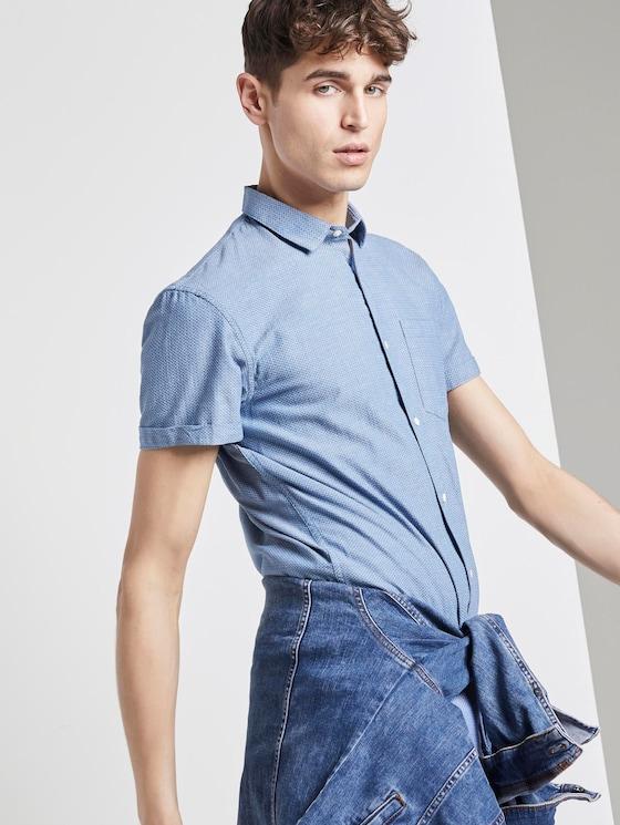 Textured short-sleeved shirt - Men - blue white rhomb structure - 5 - TOM TAILOR Denim