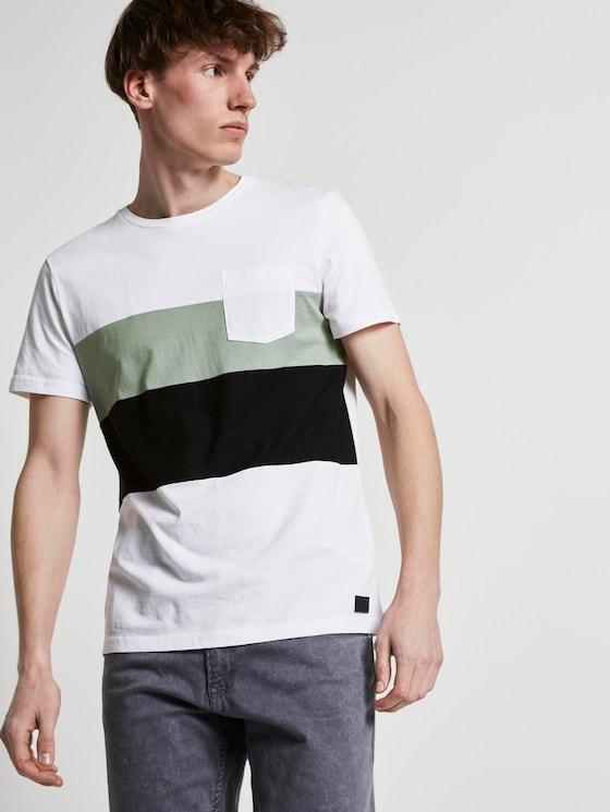 Gestreept T-shirt in een materiaalmix - Mannen - White - 5 - TOM TAILOR Denim