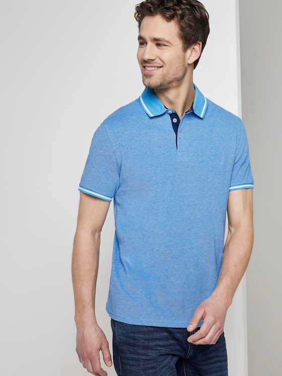 Two-tone polo shirt with a contrasting trim - Men - bright blue two tone - 5 - TOM TAILOR