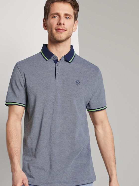 Zweifarbiges Poloshirt mit Kontrastblende - Männer - dark blue two tone - 5 - TOM TAILOR