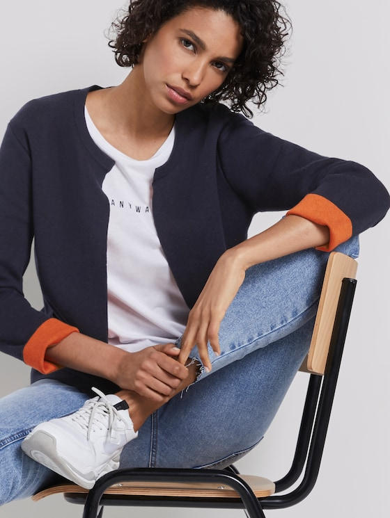 Knitted blazer - Women - Sky Captain Blue - 5 - Mine to five
