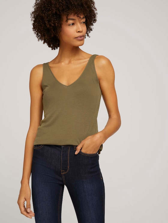 Basic Top aus Lyocell - Frauen - Military Olive Green - 5 - Mine to five