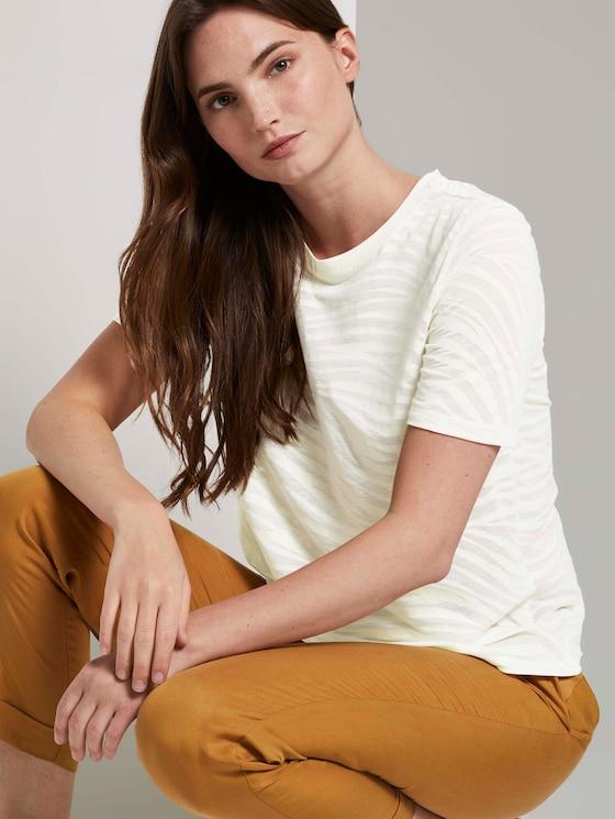 T-Shirt im blassem Zebra-Muster - Frauen - ecru burnout zebra design - 5 - Mine to five