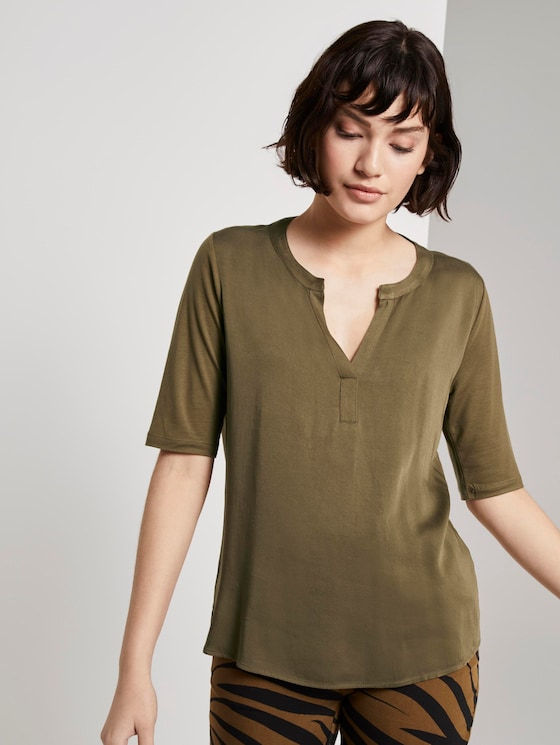 T-Shirt aus Lyocell - Frauen - Military Olive Green - 5 - Mine to five