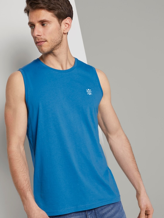 Top with a letter print - Men - brilliant middle blue - 5 - TOM TAILOR