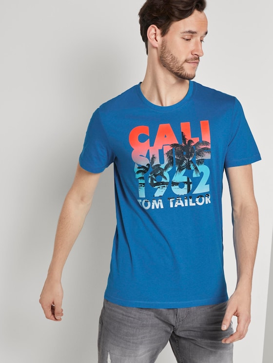 T-shirt with a letter print - Men - brilliant middle blue - 5 - TOM TAILOR