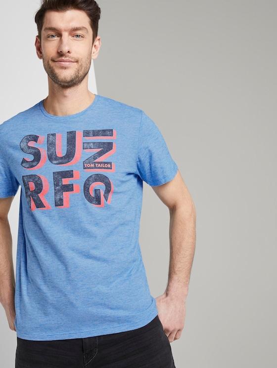 T-Shirt mit Schrift-Print - Männer - blue white fine line stripe - 5 - TOM TAILOR