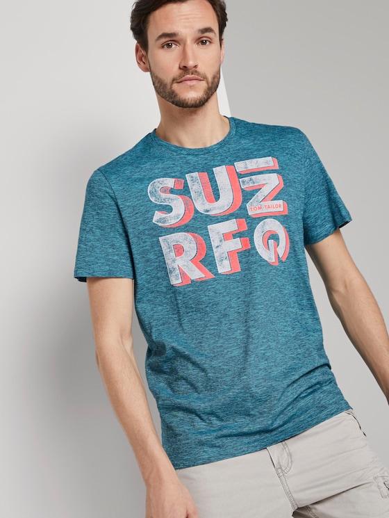 T-Shirt mit Schrift-Print - Männer - teal fine stripe - 5 - TOM TAILOR