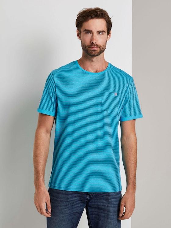 Gestreiftes T-Shirt - Männer - teal blue printed stripe - 1 - TOM TAILOR