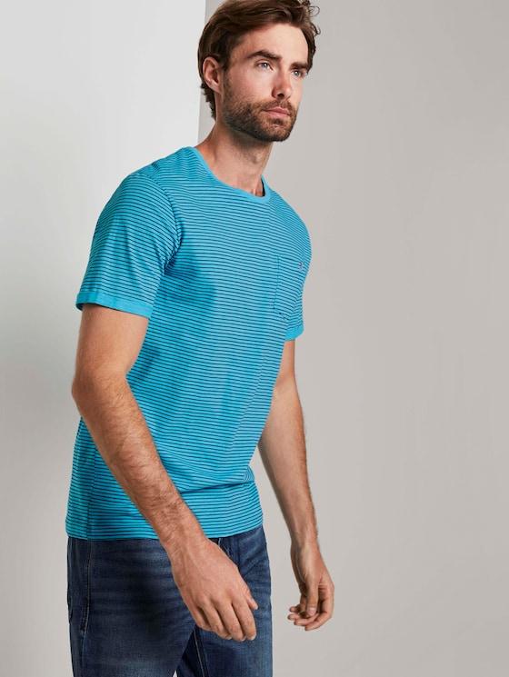 Gestreiftes T-Shirt - Männer - teal blue printed stripe - 5 - TOM TAILOR