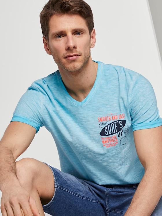 Meliertes T-Shirt - Männer - clear blue atoll - 5 - TOM TAILOR
