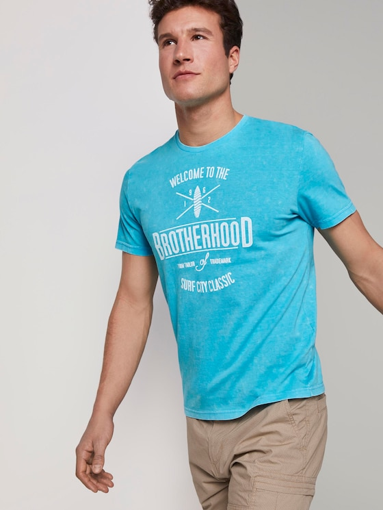 T-shirt in a stone-washed look - Men - clear blue atoll - 5 - TOM TAILOR
