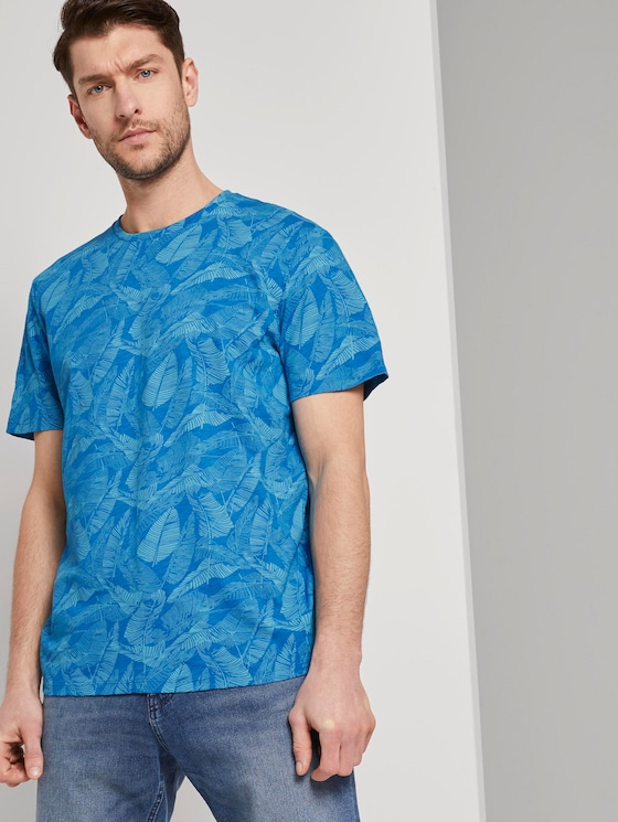 Gemustertes T-Shirt - Männer - midblue leaf design - 5 - TOM TAILOR