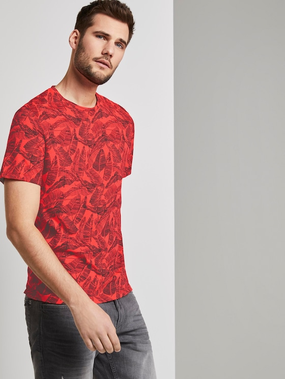 Gemustertes T-Shirt - Männer - pink grey leaf design - 5 - TOM TAILOR