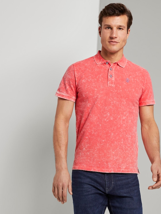Poloshirt in Stone-Washed-Optik - Männer - neon peach - 5 - TOM TAILOR