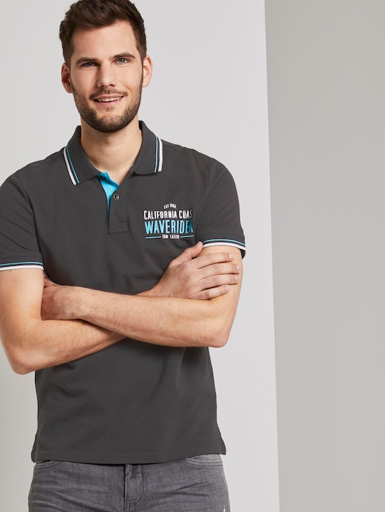 Poloshirt mit Schrift-Print - Männer - Phanton Dark Grey - 5 - TOM TAILOR
