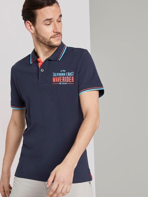 Poloshirt mit Schrift-Print - Männer - Black Iris Blue - 5 - TOM TAILOR