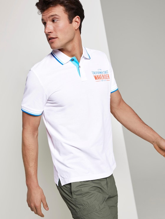 Polo shirt with a letter print - Men - White - 5 - TOM TAILOR