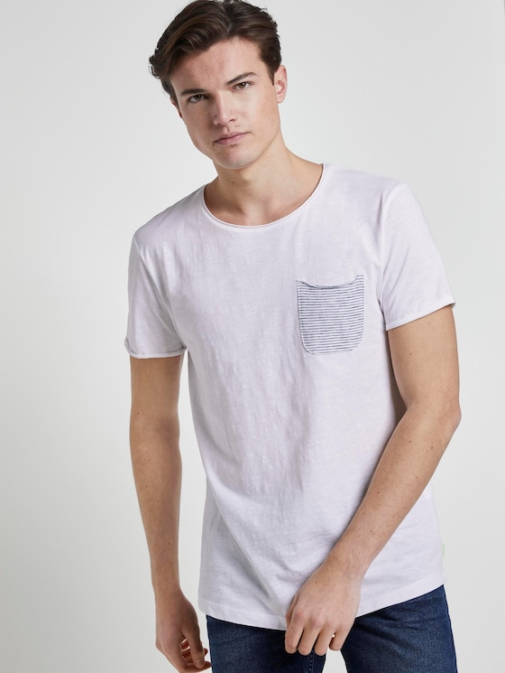 T-shirt with a striped pocket - Men - White - 5 - TOM TAILOR Denim