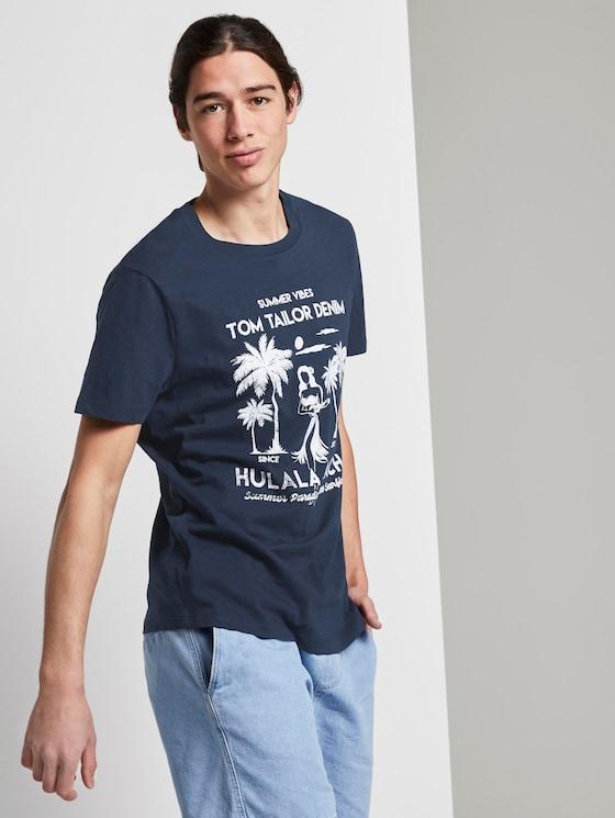 T-Shirt mit Print - Männer - Agate Stone Blue - 5 - TOM TAILOR Denim