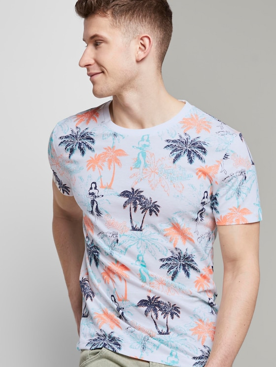T-Shirt mit Palmen-Muster - Männer - soft blue hula palm print - 5 - TOM TAILOR Denim