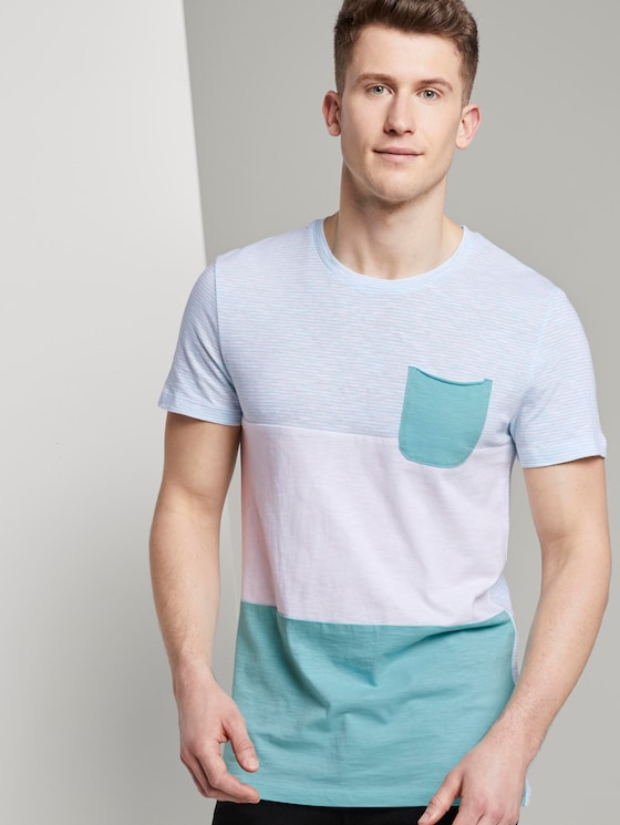 T-Shirt im Color-Block Artdesign - Männer - soft sky blue yarn dye stripe - 5 - TOM TAILOR Denim