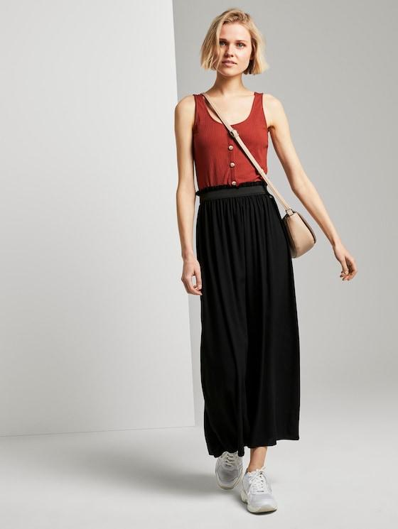 flared maxi skirt with an elastic waistband - Women - Deep Black - 3 - TOM TAILOR Denim