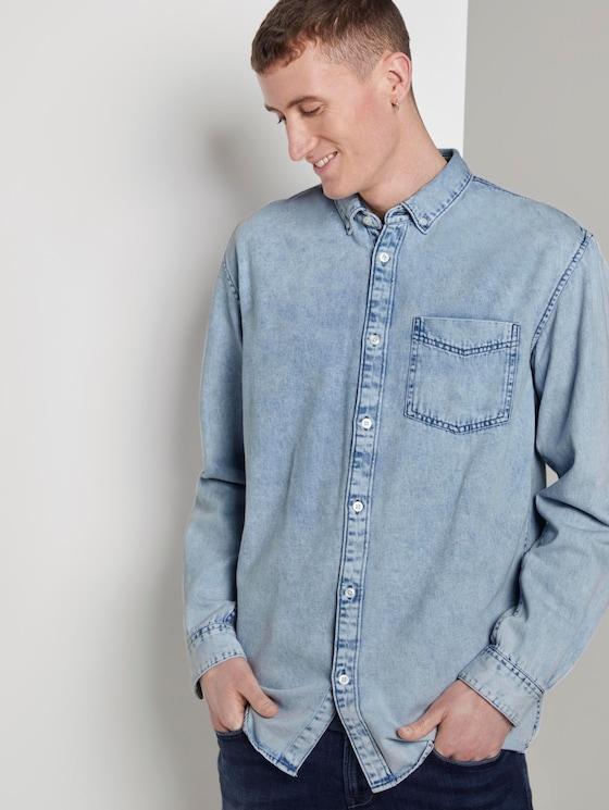 Loose denim shirt - Men - Heavy Bleached Blue Denim - 5 - TOM TAILOR Denim