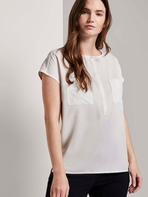 Kurzarm-Bluse mit Brusttaschen - Frauen - Whisper White - 5 - Mine to five