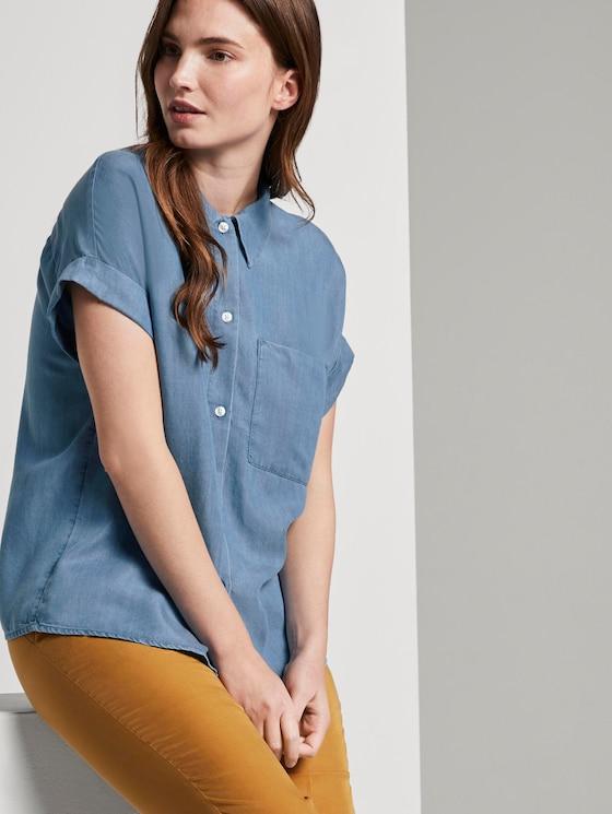 Oversized Kurzarm-Bluse im Denim-Look - Frauen - Blue Denim - 5 - Mine to five