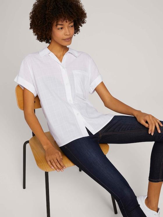 Strukturierte Kurzarm-Bluse im Oversized-Fit - Frauen - White - 5 - Mine to five