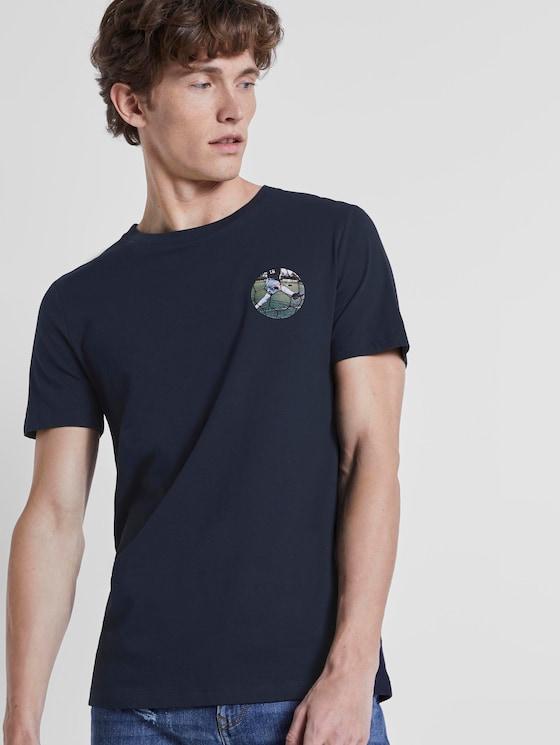 T-Shirt mit Fußball-Prints - Männer - Sky Captain Blue - 5 - TOM TAILOR Denim