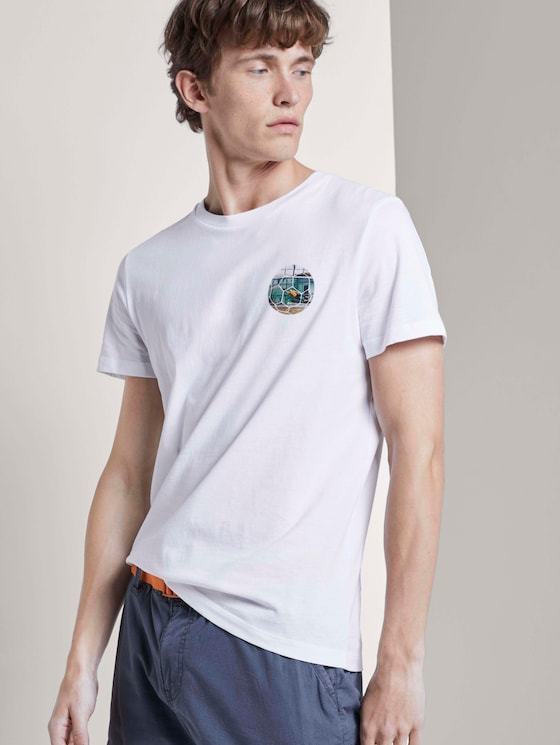 T-Shirt mit Fußball-Prints - Männer - White - 5 - TOM TAILOR Denim