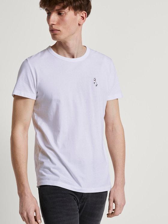 T-Shirt mit kleiner Sportsocken-Stickerei - Männer - White - 5 - TOM TAILOR Denim
