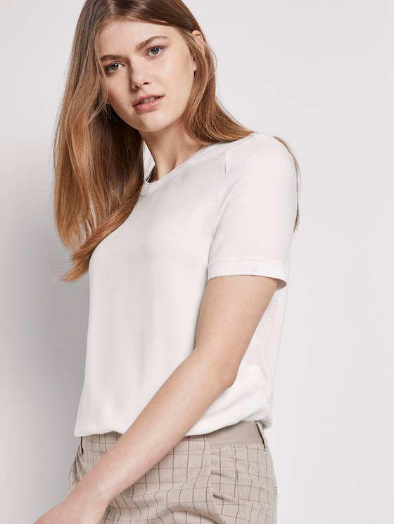 T-Shirt im Materialmix - Frauen - Off White - 5 - TOM TAILOR Denim