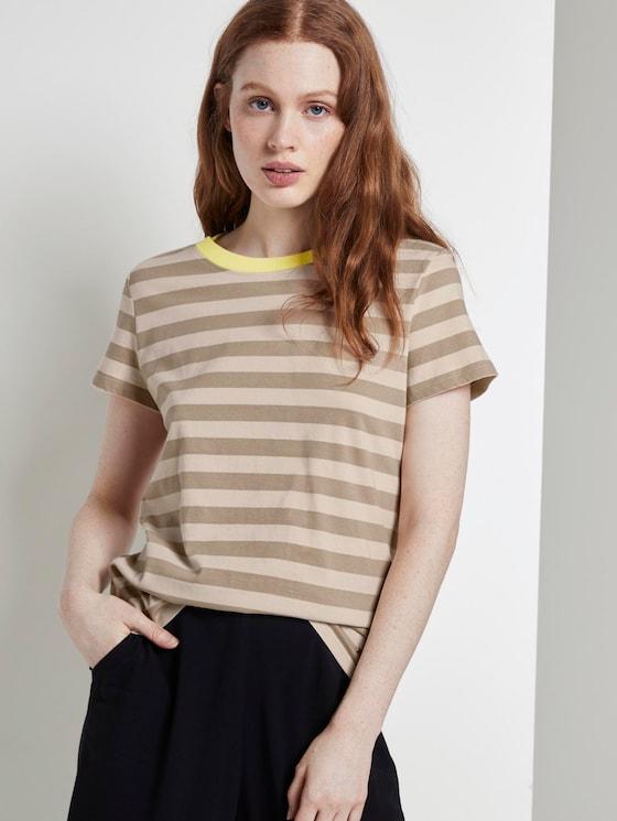 Gestreiftes T-Shirt mit Bio-Baumwolle - Frauen - beige white stripe - 5 - TOM TAILOR Denim