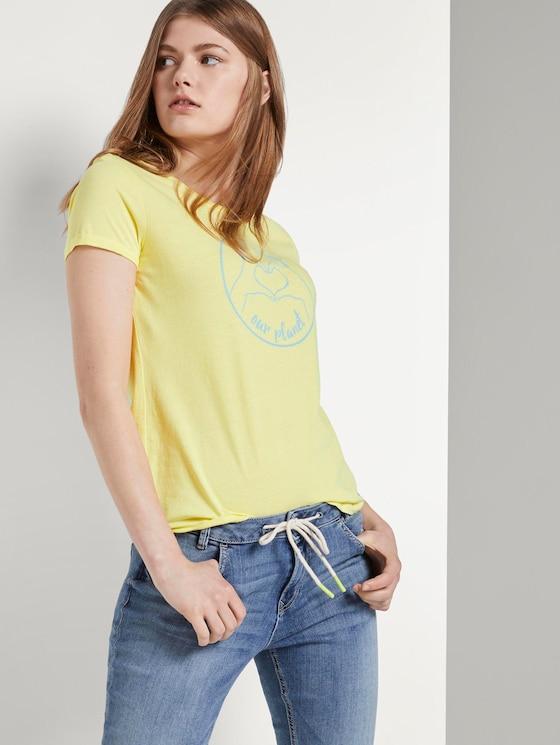 Love-Print T-Shirt mit Bio-Baumwolle - Frauen - daffodil yellow - 5 - TOM TAILOR Denim