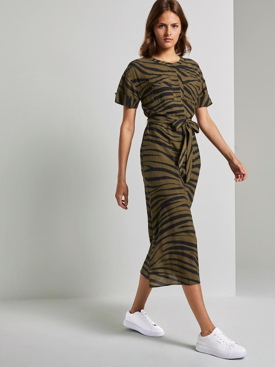 Maxikleid im Zebra-Muster - Frauen - olive zebra design - 5 - Mine to five