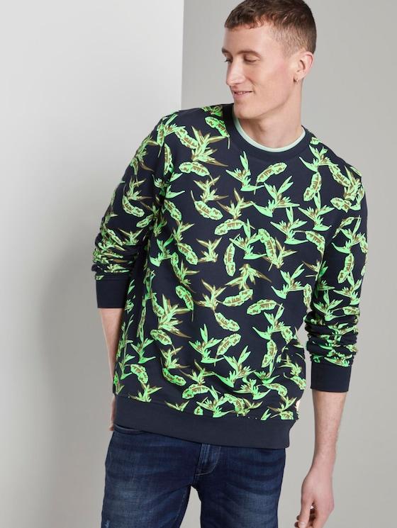 Sweatshirt mit tropischem Print - Männer - navy green leaf plant print - 5 - TOM TAILOR Denim