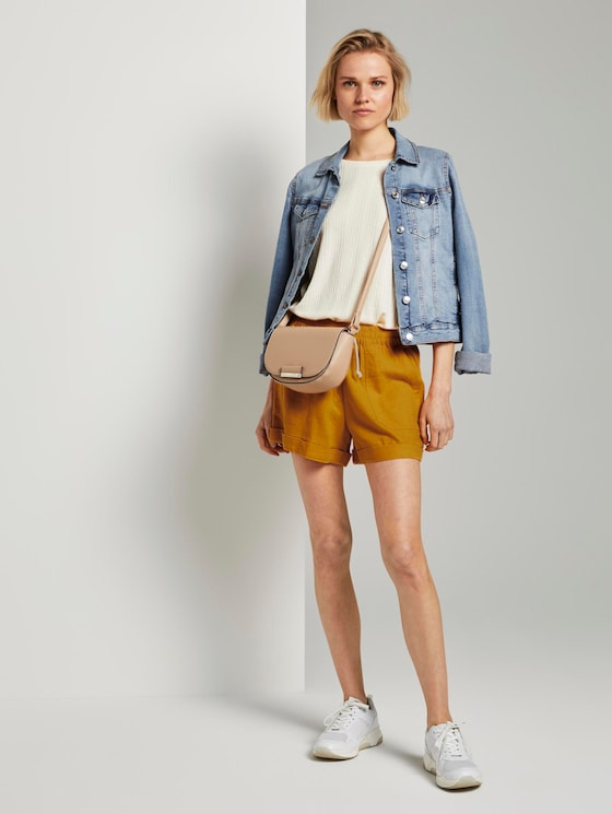 Relaxed Shorts mit elastischem Bund - Frauen - orange yellow - 3 - TOM TAILOR Denim
