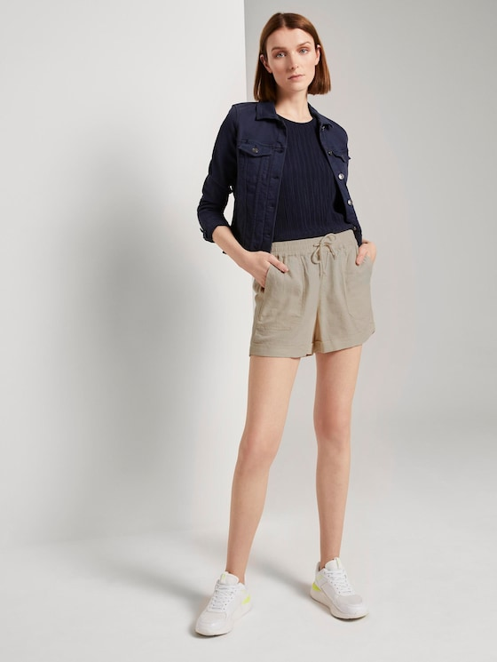 Relaxed shorts with an elastic waistband - Women - soft creme beige - 3 - TOM TAILOR Denim