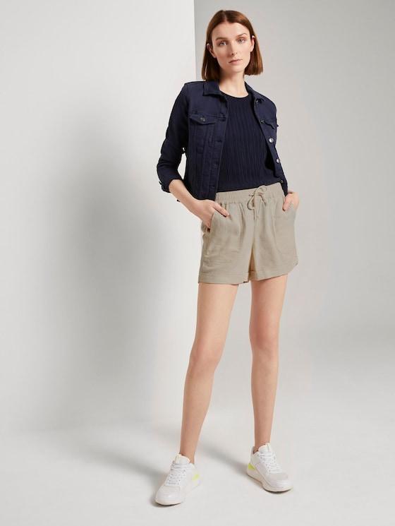 Relaxed Shorts mit elastischem Bund - Frauen - soft creme beige - 3 - TOM TAILOR Denim