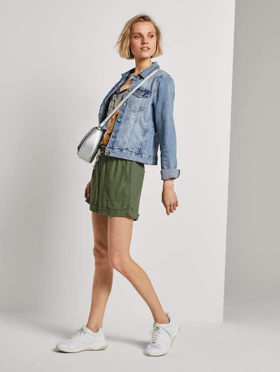 Relaxed Shorts mit elastischem Bund - Frauen - olive green - 3 - TOM TAILOR Denim