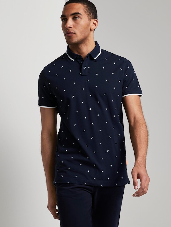 Polo shirt with an all-over print - Men - navy mini vacation print - 5 - TOM TAILOR Denim